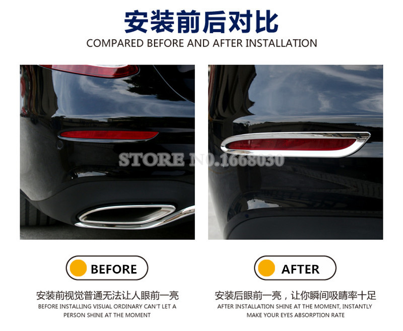Zaslon zadnje luči za meglo ABS Chrome 2pcs za Mercedes Benz E - Dodatki za notranjost avtomobila - Fotografija 4