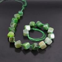 Approx18PCS/strand Green Rhombus Nugget Dragon Veins Agates Beads,Raw Onxy Gems Square Shape Pendants Necklaces Crafts Jewelry