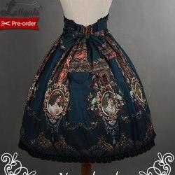 РЕТРО ПРИНТ рококо стиль короткая юбка с высокой талией от Soufflesong [индивидуальный пошив доступен]