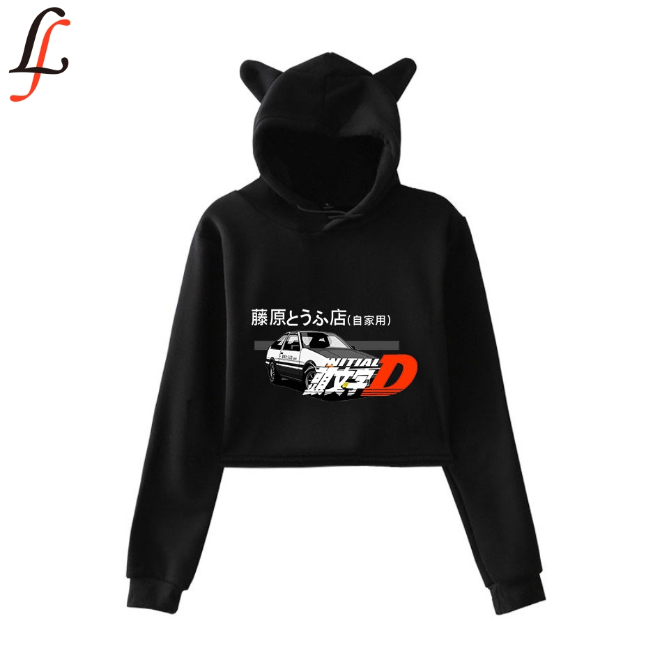 lnlitial D 2019 New Cat Ear <font><b>Cap</b></font> <font><b>Sexy</b></font> Hoodies Fashion Trend Cat Crop Top Women Hoodies Sweatshirt Harajuku <font><b>Sexy</b></font> Hot Kpop Clothes image