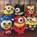 6pcs/lot Minions Cosplay The Avengers Super Hero Spiderman & Superman & Batman & Captain America&Ironman&Thor Action Figure Toys