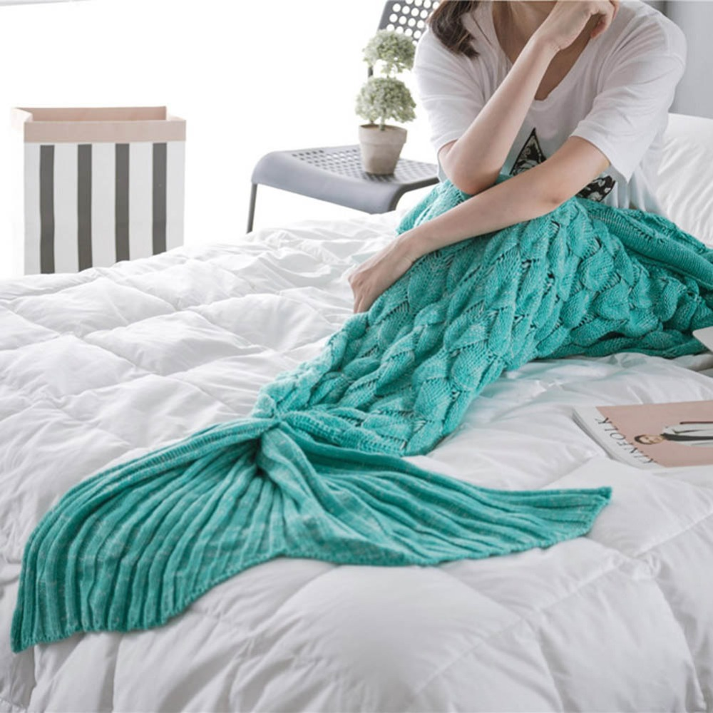 Handmade Knitted Mermaid Tail Blanket Adult/Child Crochet Knit Candy Color Fish Throw Bed Wrap Sofa Foot Coverlet Sleeping Bag
