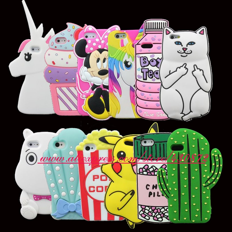 For iphone 4 4s/5 5s/SE/5c/6 6s/6Plus 6s Plus/7 7 Plus/8 3D Silicon Cat Unicorn Cupcake Fashion Soft Phone Back Case Cover
