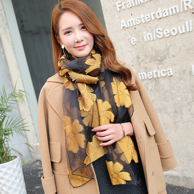 High brand Grade Summer Eugen Yarn Scarf Demale Spring And Autumn  Embroidery Embroidery Silk silk Scarf Shawl Long Scarf Long e661c0f661