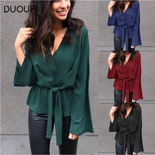 DUOUPA 2019 Spring and Autumn Solid Color Long-sleeved Shirt Fashion V-neck Straps Elegant Womens Clothing