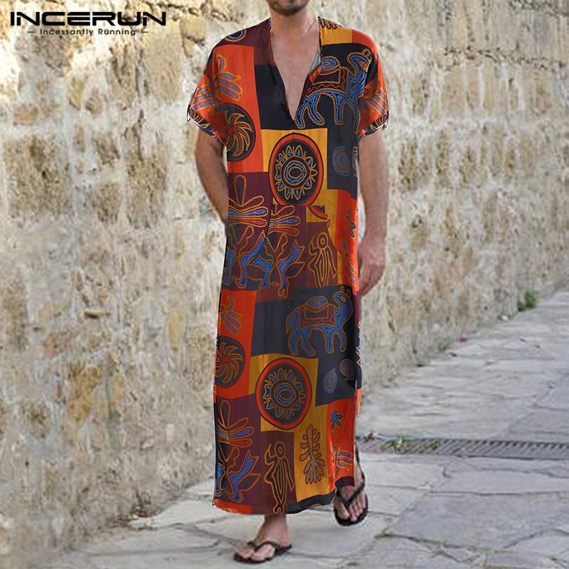 Muslim Kaftan Men Cotton Vintage Printing Short Sleeve Cotton Dubai Jubba Thobe Men Abaya Arabic Islamic Clothes Robes INCERUN