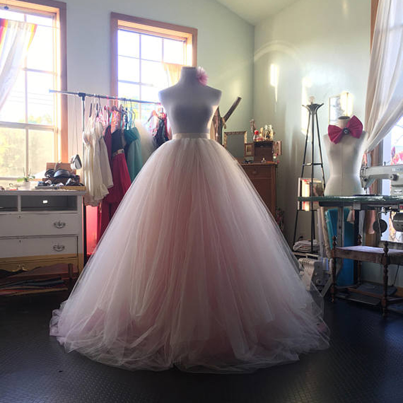 eaa4df805f748 US $46.91 6% OFF|Blush Pink Bridal Ball Gown Tutu Skirt High Waist Floor  Lenght Extra Puffy Wedding Skirt 2018 Lush Long Skirt Prom Party Gown-in ...