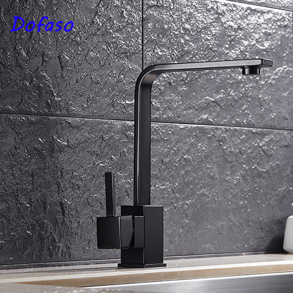 Dofaso black kitchen faucets 2 Hole Sink Basin Mixer Tap Bathroom Spout Faucet black taps
