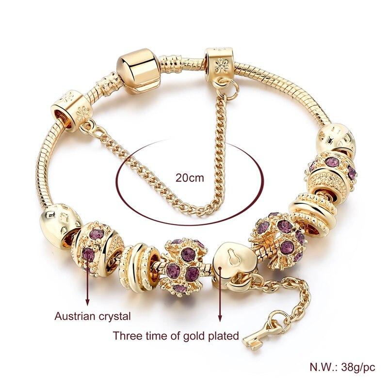 Mode lilla Crystal Key Charm armbånd til kvinder guld europæiske - Mode smykker - Foto 2