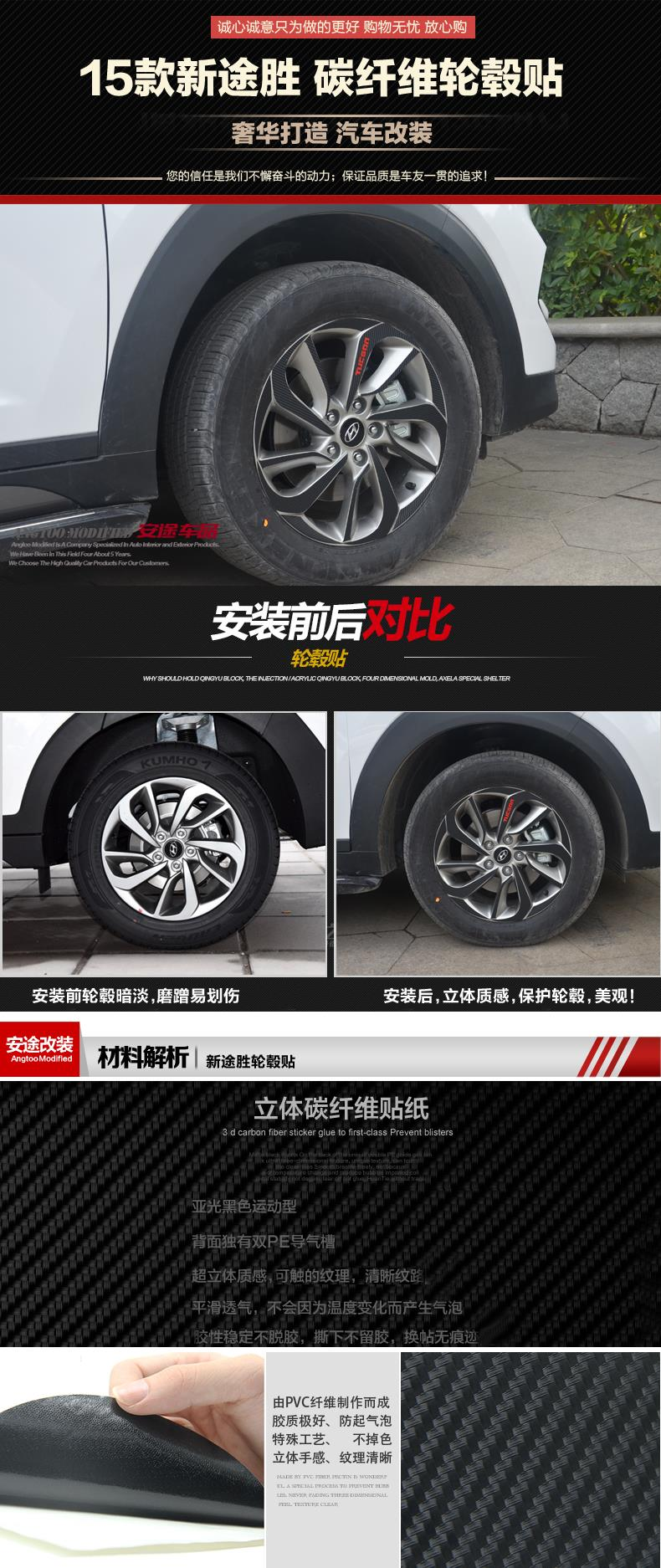 Us 12 9 Tucson Carbon Fiber Wheels Car Stickers Affixed Wheel Hub Special Modification Used For Hyundai 2016 2018 In