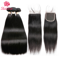 Beau Human Hair Bundles With Closure Lace Frontal Malaysia Straight Hair 2 3 Bundles With Frontal