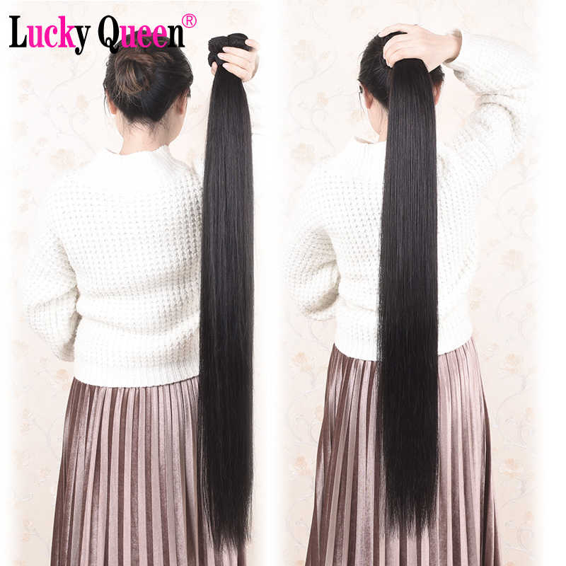 28 30 32 Cal 34 36 38 Cal długie włosy ludzkie wiązki z zamknięciem brazylijski włosy proste wiązki włosów z zamknięcia Remy włosy szczęście królowa
