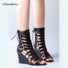 Choudory Wedges High Heels Woman Sandals Summer Cross-tied Zipper Zapatos Mujer Fashion Party Comfortable Lace-Up Woman Shoes