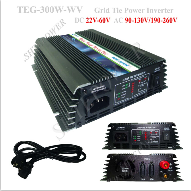 solar 300w grid tied inverter 220v with Output short circuit protection maylar 22 60vdc 300w dc to ac solar grid tie power inverter output 90 260vac 50hz 60hz