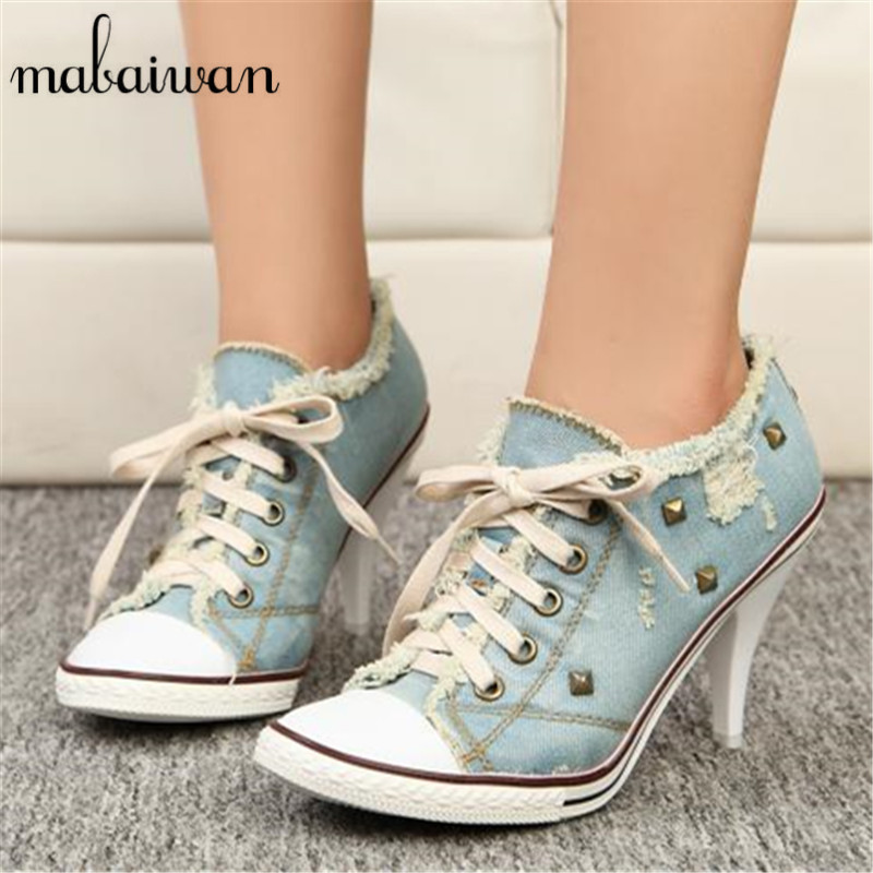Sexy Blue Women High Heels Lace Up Ankle Boots Women Pumps Rivets Fashion Stiletto Casual Denim Shoes Woman Valentine Shoe fashion army green camouflage canvas shoes woman rivets thin high heels boots botas sweet lace up ankle boots women femininas