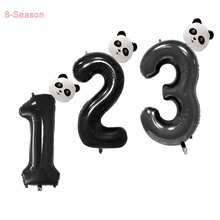 8-Season 32inch Panda Foil Balloons Birthday Helium Number Balloon Black Kids Ballon Globos