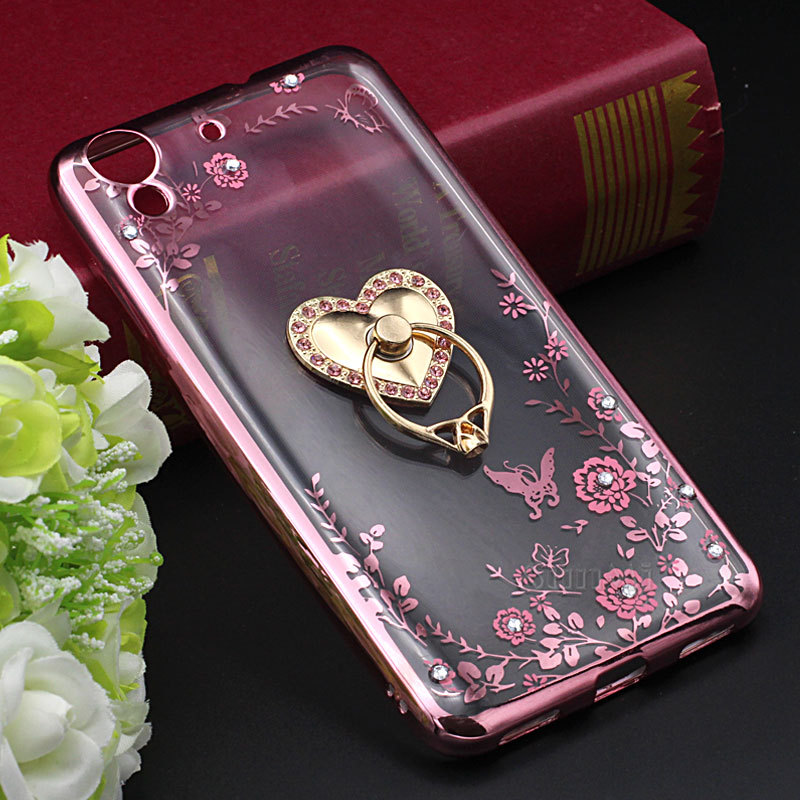 New Luxury TPU Soft Phone Case for Huawei honor 5A Y6 ii Y62 5.5 inch Secret Floral Printing Gilded Ring Stand Holder Back Cover