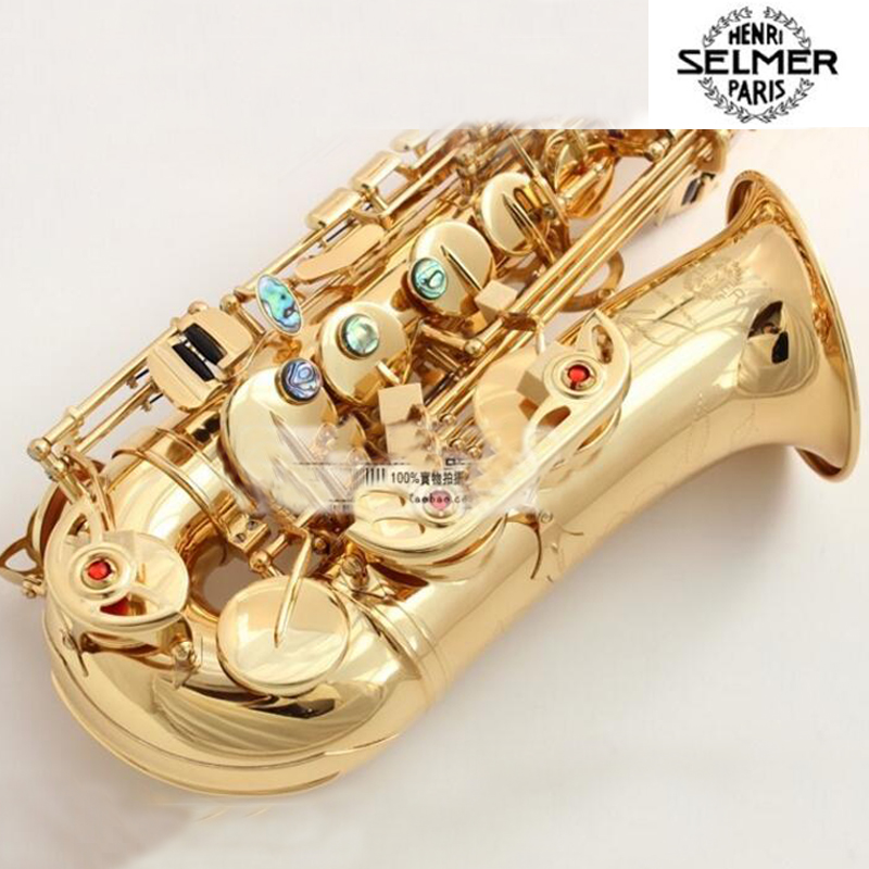 Fast Shipping DHL France Selmer Alto Saxophone R54 Professional Eb Gold Sax Mouthpiece With Case and Accessories 2016 free new ems dhl french selmer 54 eb alto saxophone professional black gold key instrument sax super and metal mouthpiece