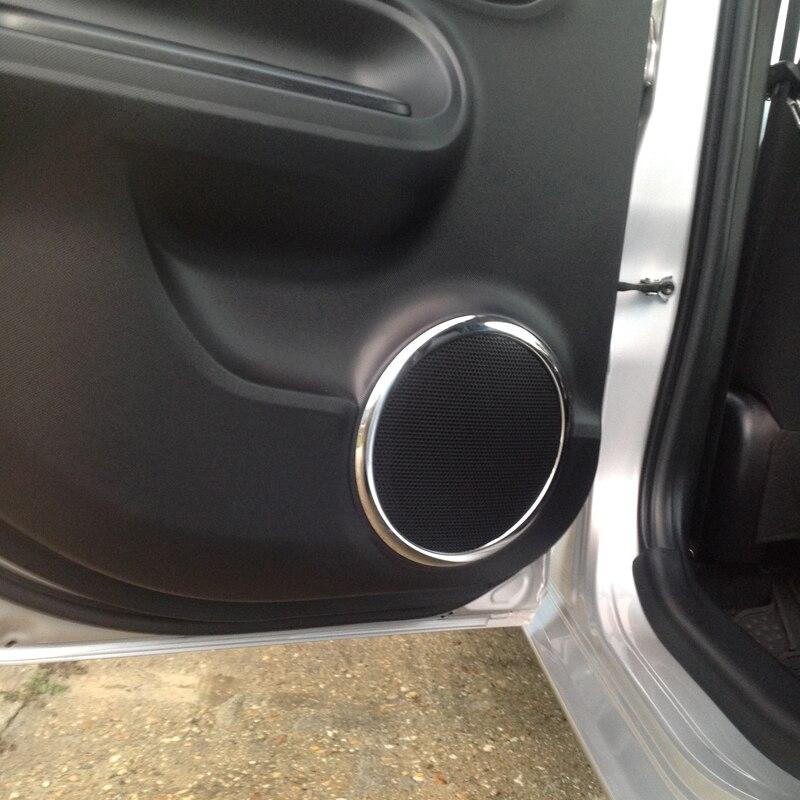 4pcs Sus304 Stainless Steel Door Speaker Ring Molding Garnish Trim Cover For Toyota Prius C AQUA NHP10 2011-2014