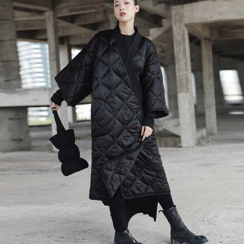 Moda pas luźne Plus Size Parka Feminina Streetwear fajne Slim czarny ubrania kurtka, damskie, kieszeń, z długim bawełna płaszcz zimowy A485 w Parki od Odzież damska na  Grupa 3