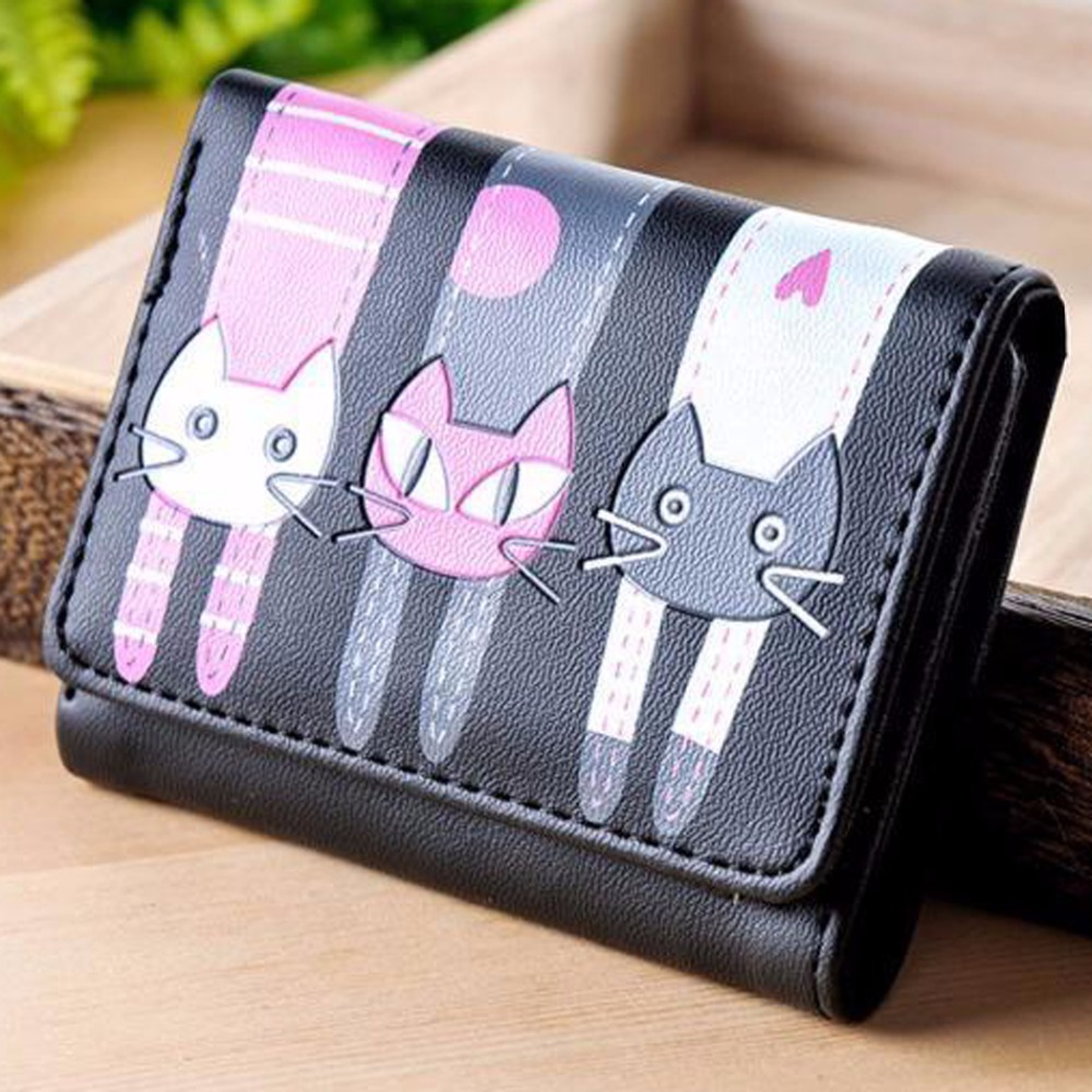 Women's Anime Wallet Women Black Wallets Purses Cute Cat Zipper Coin Purse Short Credit Card Holder Long Child Pussy Clutch hot sale owl pattern wallet women zipper coin purse long wallets credit card holder money cash bag ladies purses