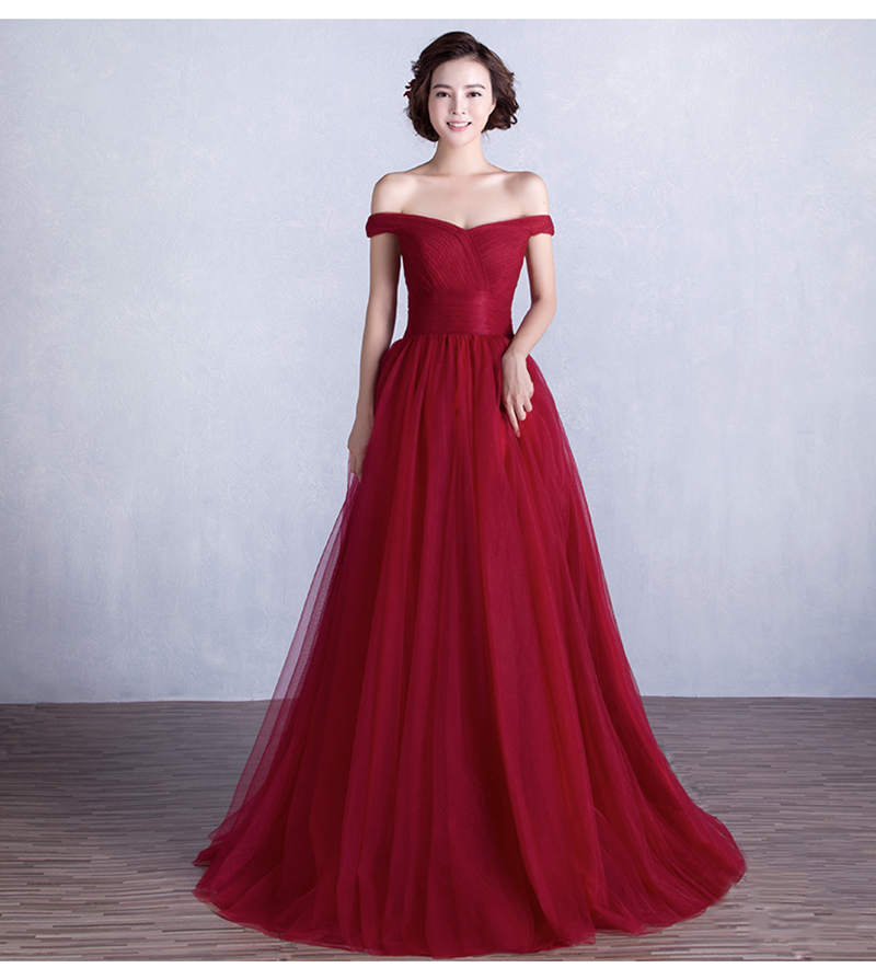 Off the Shoulder Burgundy Prom Dresses