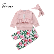 Toddler Clothing Set Kids Baby Girl Ruffle Solid Tops Floral Pants Leggings 3Pcs Outfits Clothes
