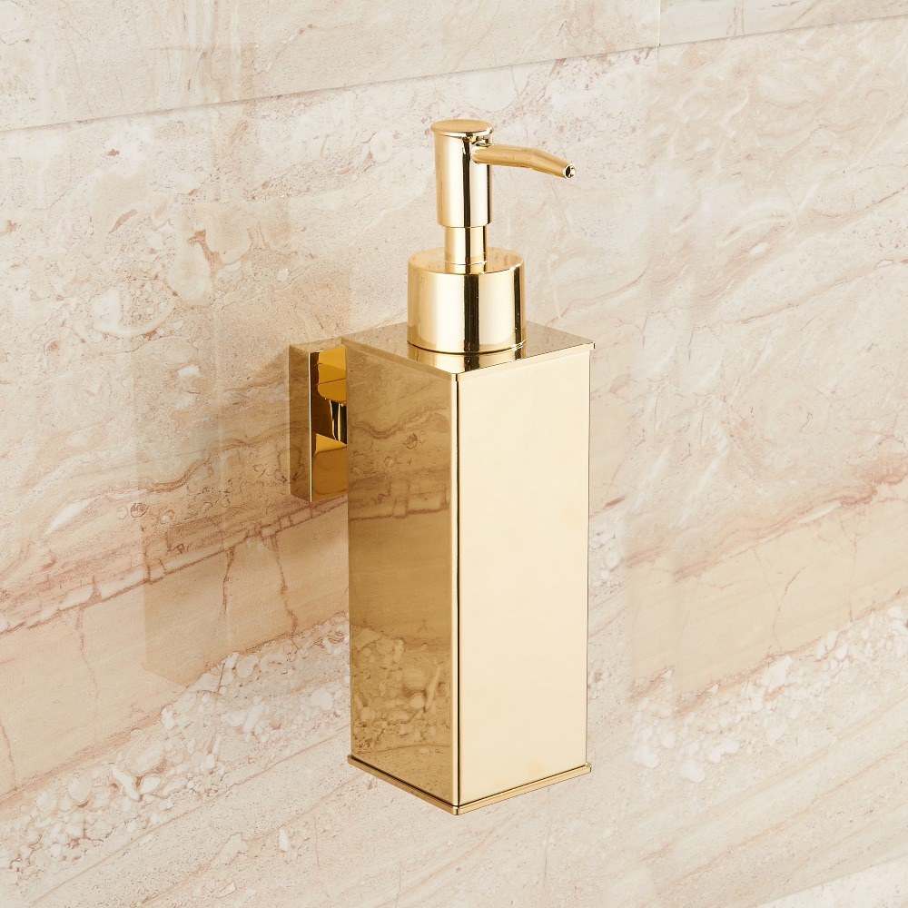 Stainless steel soap dispenser hand Liquid Soap Dispenser squeeze wall mounted hotel bathroom kitchen square design-in Liquid Soap Dispensers from Home Improvement