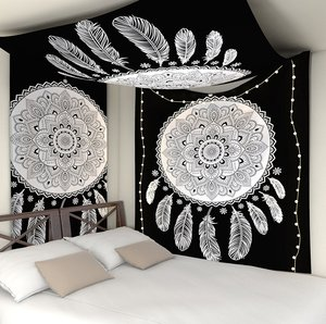 Image 2 - Indian Mandala Tapestry Wall Hanging Multifunctional Tapestry Boho Printed Bedspread Cover Mat Blanket Picnic cloth