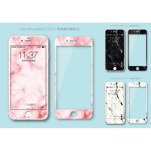 pretty nice 0eca3 5a003 US $3.99  Marble design carbon fiber+Tempered Glass film Screen Protector  for iPhone 6 case 6S 6 Plus 6s plus Cover-in Phone Screen Protectors from  ...