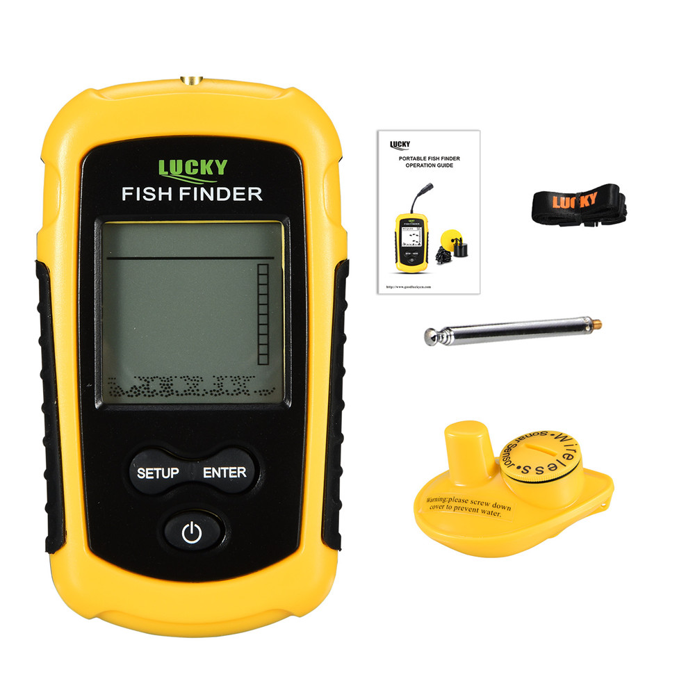 LUCKY FF1108-1 Portable Fish Finder ice fishing Sonar Sounder Alarm Transducer Fishfinder 0.7-100m fishing echo sounder 6