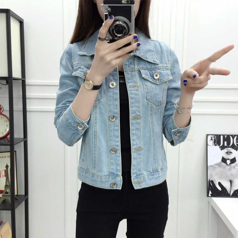 Solid Turn-down Collar Jean Jacket for Women Autumn Loose Casual Blue Fashionable Women Coats Female outwear Denim Feminine