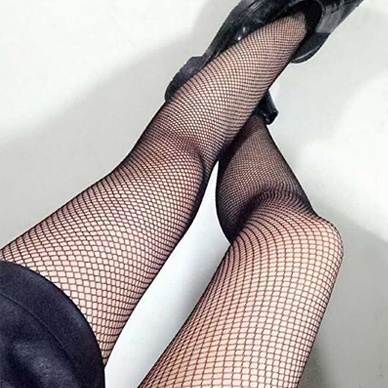 Black medium grid SEXY women high waist stocking fishnet club tights panty knitting net pantyhose trouser mesh lingerie