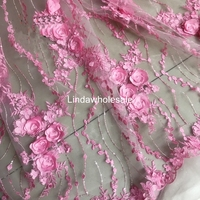 European pink beaded flower embroidery lace fabric,wedding dress fabric,130cm*45cm(half yard)/pcs