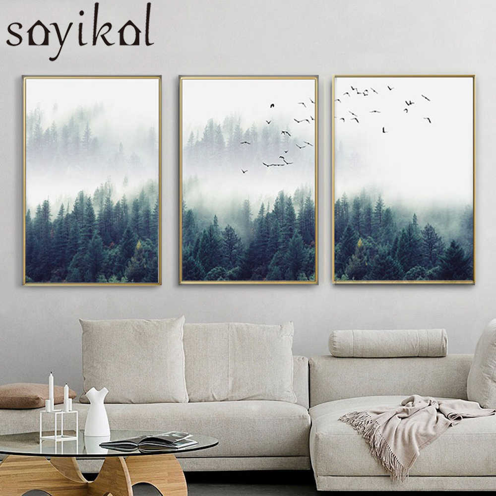 3 piece wall art nordic fog forest birds landscape canvas painting poster print wall art picture