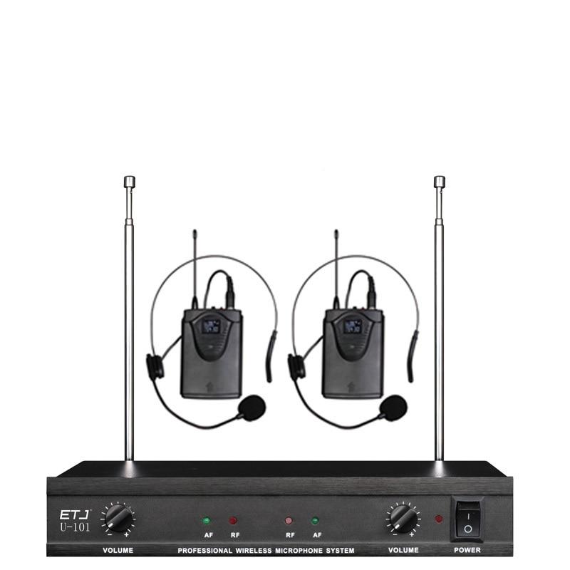 ETJ U-101 Wireless Microphone with Screen 50M Distance 2 Channel Handheld Mic System Karaoke Wireless Microphone etj brand wireless vhf changable handheld bodypack headset lavalier microphone dual wireless microphone u 201