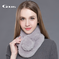 Gours Women S Real Fur Scarf High Quality Luxury Big Rex Rabbit Fur Scarves Thick Warm