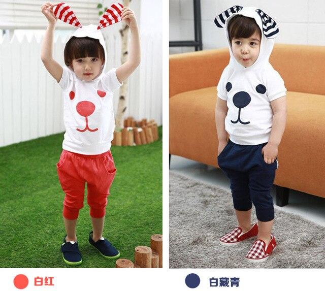 Дети корейский собака закрытый воротник мальчики девочки короткая длинными рукавами костюм рукав