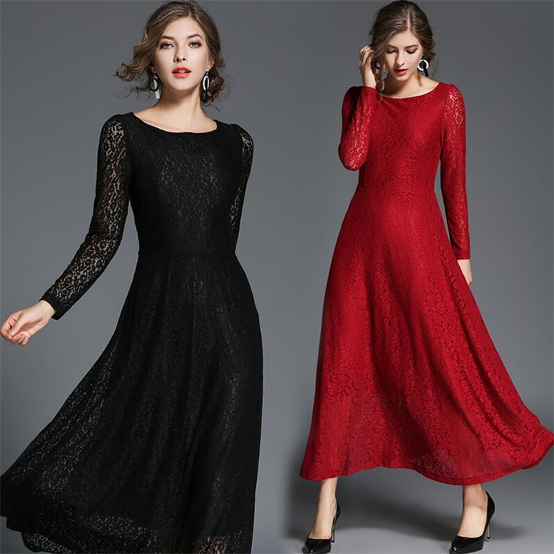 European Wedding Gown Fashion 2019 New Casual Round Neck Solid Elegant A line Dresses Autumn Spring Party Lace Dress Vestidos