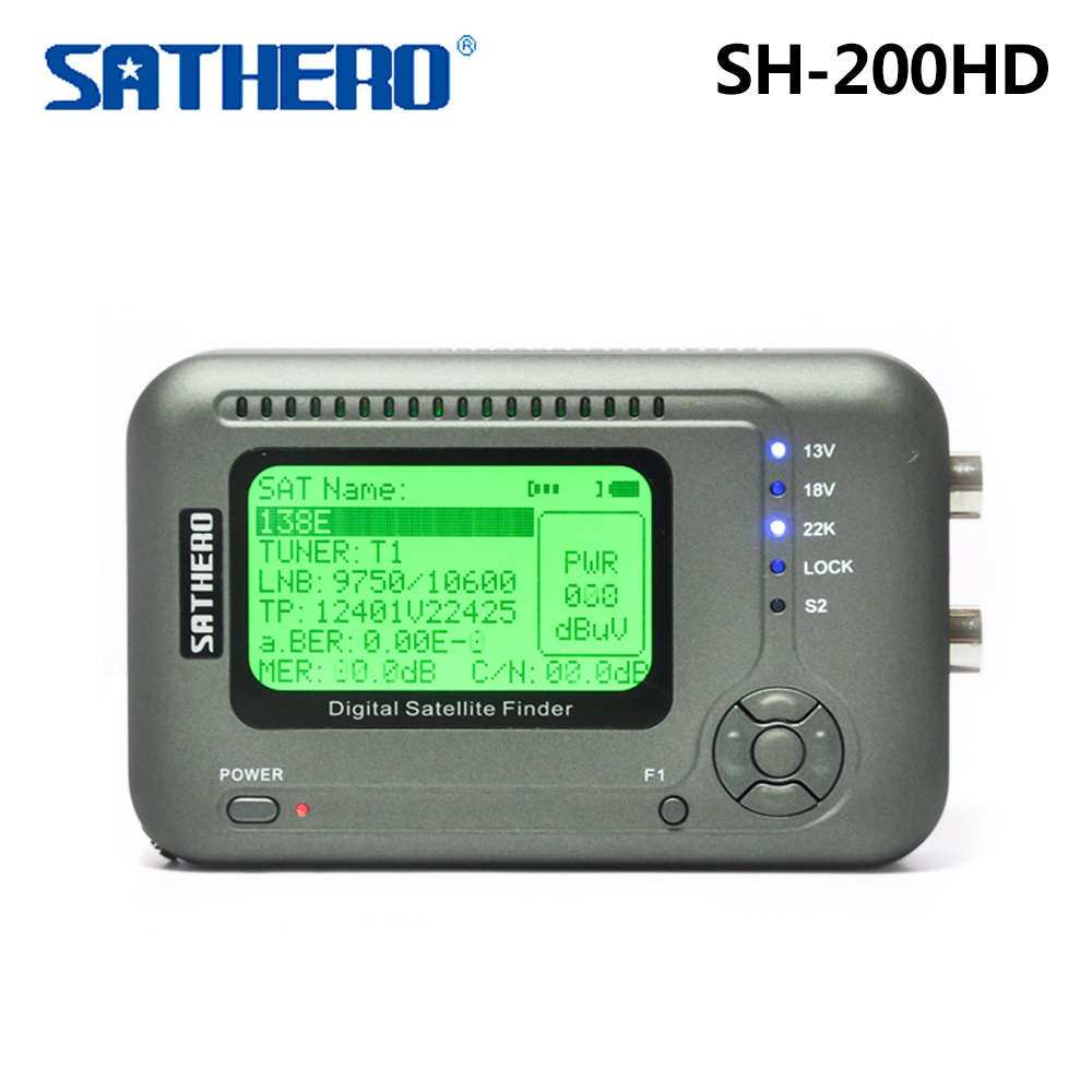 Original Sathero SH-200HD DVB-S/S2 HD Digital Satellite Finder Meter free shipping sathero sh 200 2 6 dvb s2 dvb s hd digital satellite finder deep grey silver
