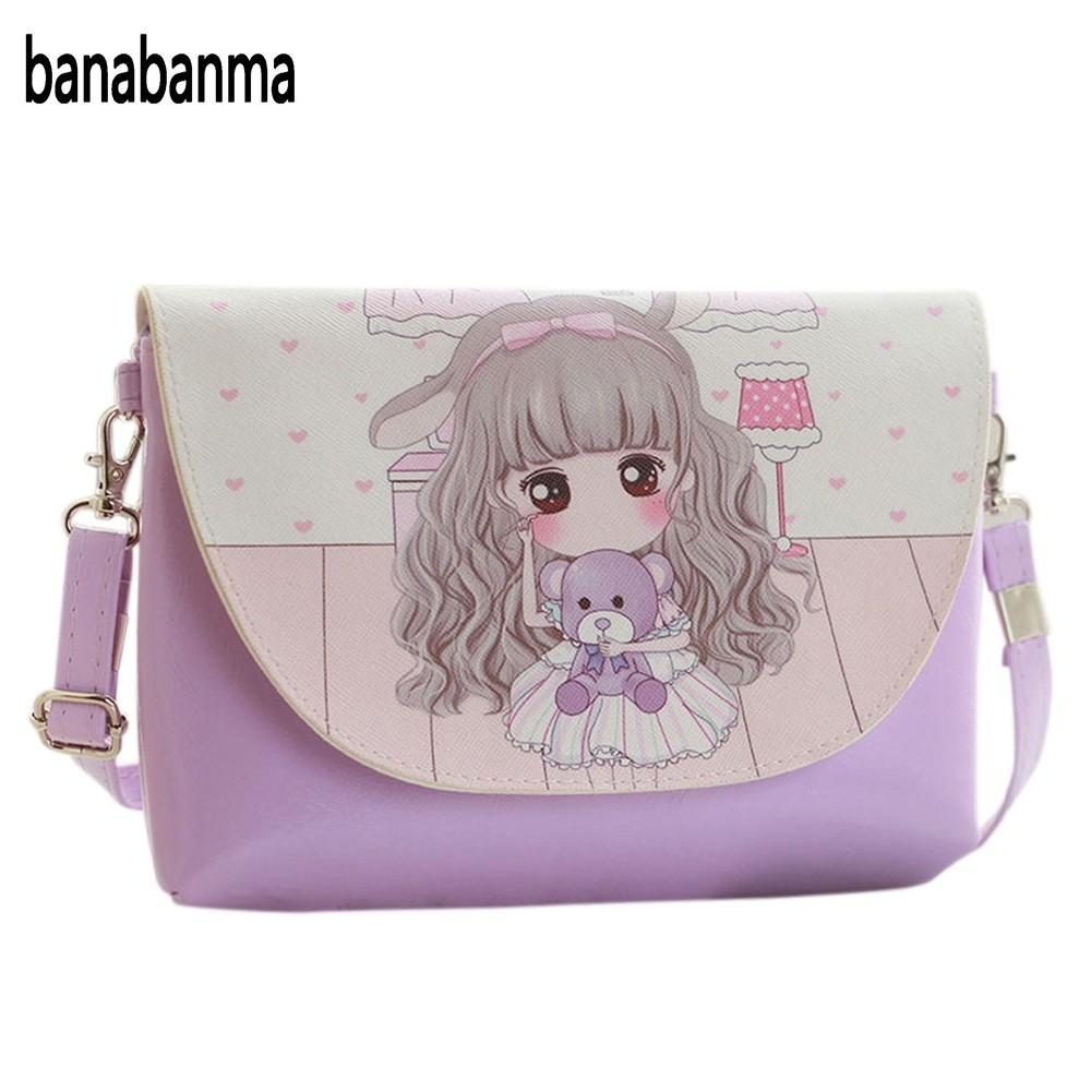 banabanma Cartoon Printing Kids Baby Messenger Bags Clutch Women Crossbody Bag Female Shoulder bags for Girls Party Handbags Z20 girls mini messenger bag cute plush cartoon kids baby small coin purses lovely baby children handbags kids shoulder bags bolsa