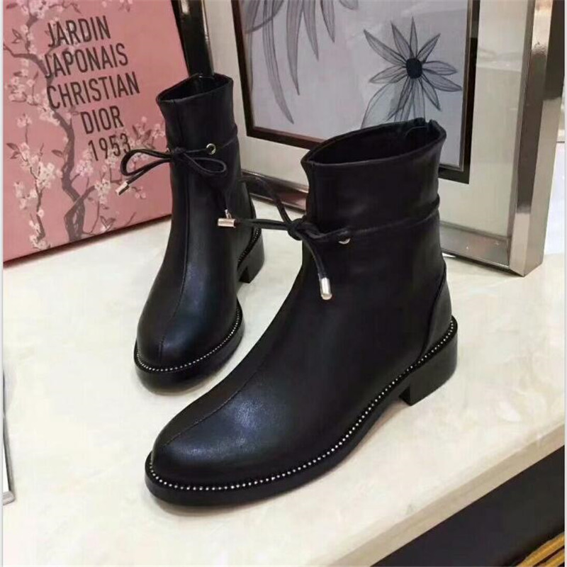 Dentelle Véritable Rond Cheville Chaussures Black Bout Outwear En Cuir Noir Femme Loisirs Sexy Courtes Up Bottes Med Talons Carrés Femmes 08knwOPX