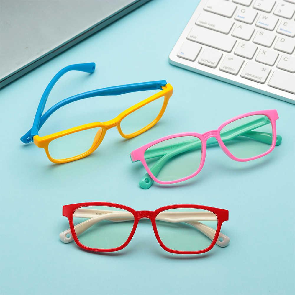 3 вида стилей очки для мальчиков и девочек, мягкая силиконовая оправа, защита для глаз от синего излучения, Детские стеклянные очки с прозрачными линзами