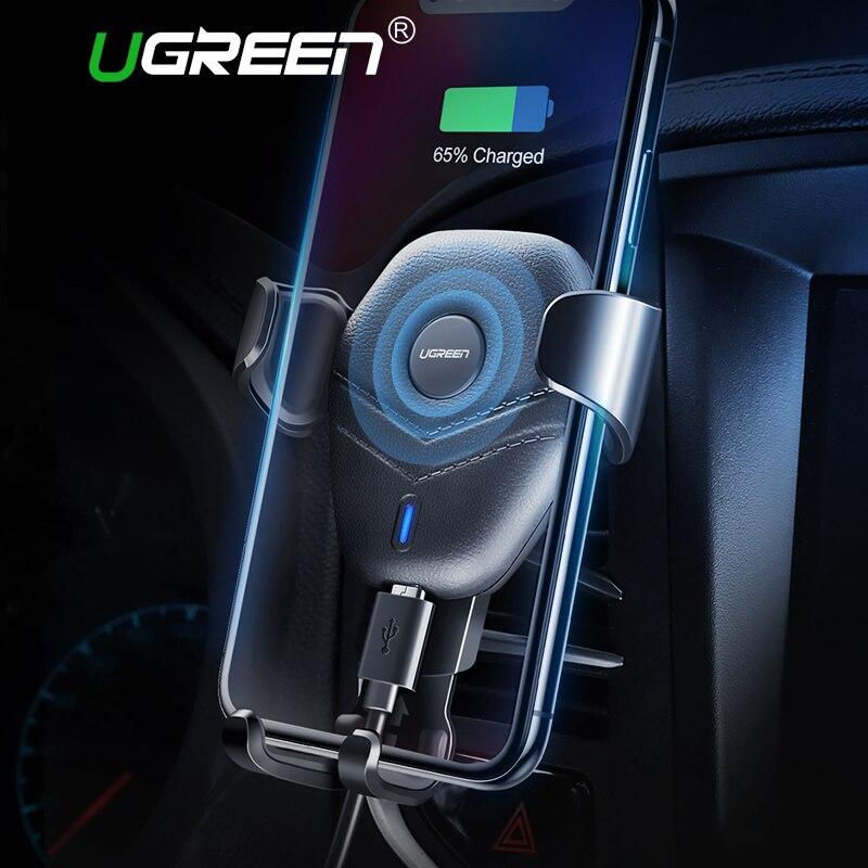 Ugreen cargador inalámbrico coche montaje Qi carga inalámbrica rápida para Samsung Galaxy S9 S8 coche para iPhone X 8 cargador inalámbrico