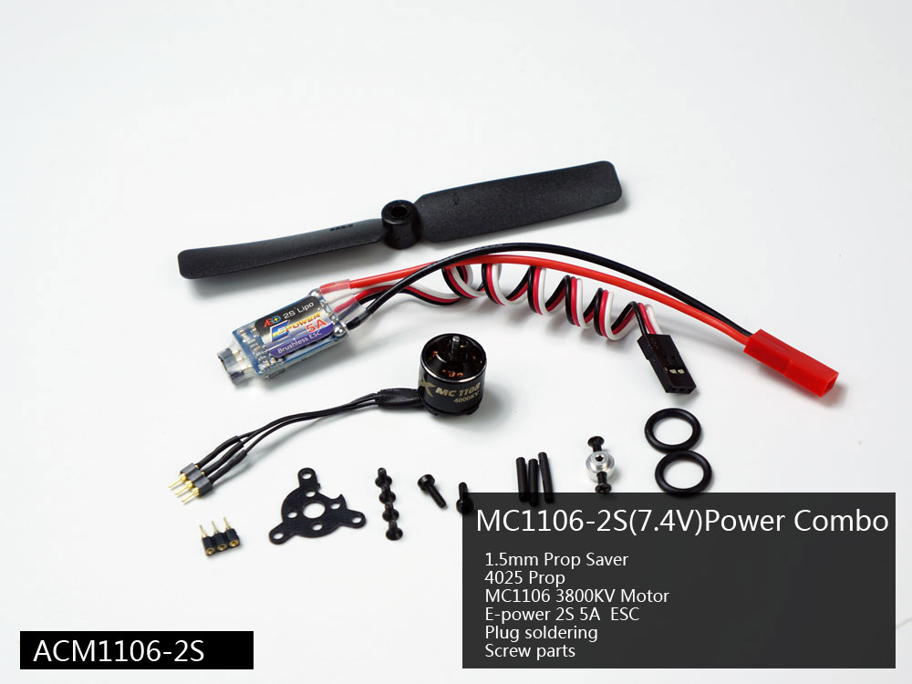 <font><b>2S</b></font> Micro Power System Combo with 1106/1108 <font><b>Motor</b></font>, ESC, Servo, Propeller for Wingspan below 700mm, Flying Weight less than 210g image