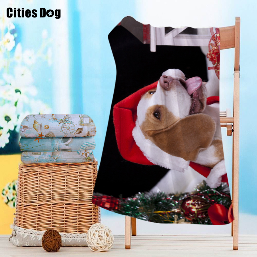 Serviette de plage noël Beagle Labrador Retriever Animal microfibre voyage en plein air Sports natation Camping bain Yoga tapis couverture