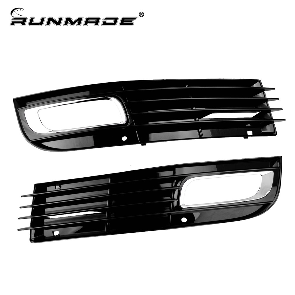 runmade For 2008-2010 Audi A8 D3 Black Front Lower Bumper Driving Grill Pair Grille Cover With Chrome front lower side cooling air grille for audi a6 c6 facelifted 09 10
