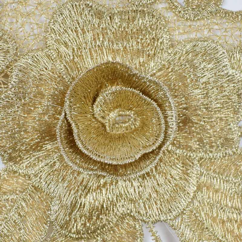 1 pieza de Aplique de encaje dorado, apliques de cuello grande, bordado de encaje, tela de corte, Patchwork de costura, manualidades para álbum de recortes