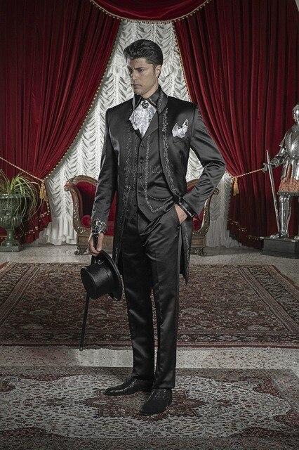 Elegante Branco Preto Bordado Noivo Smoking homens Padrinhos de Casamento Ternos de Baile Custom Made (Jacket + Pants + Vest K): 87