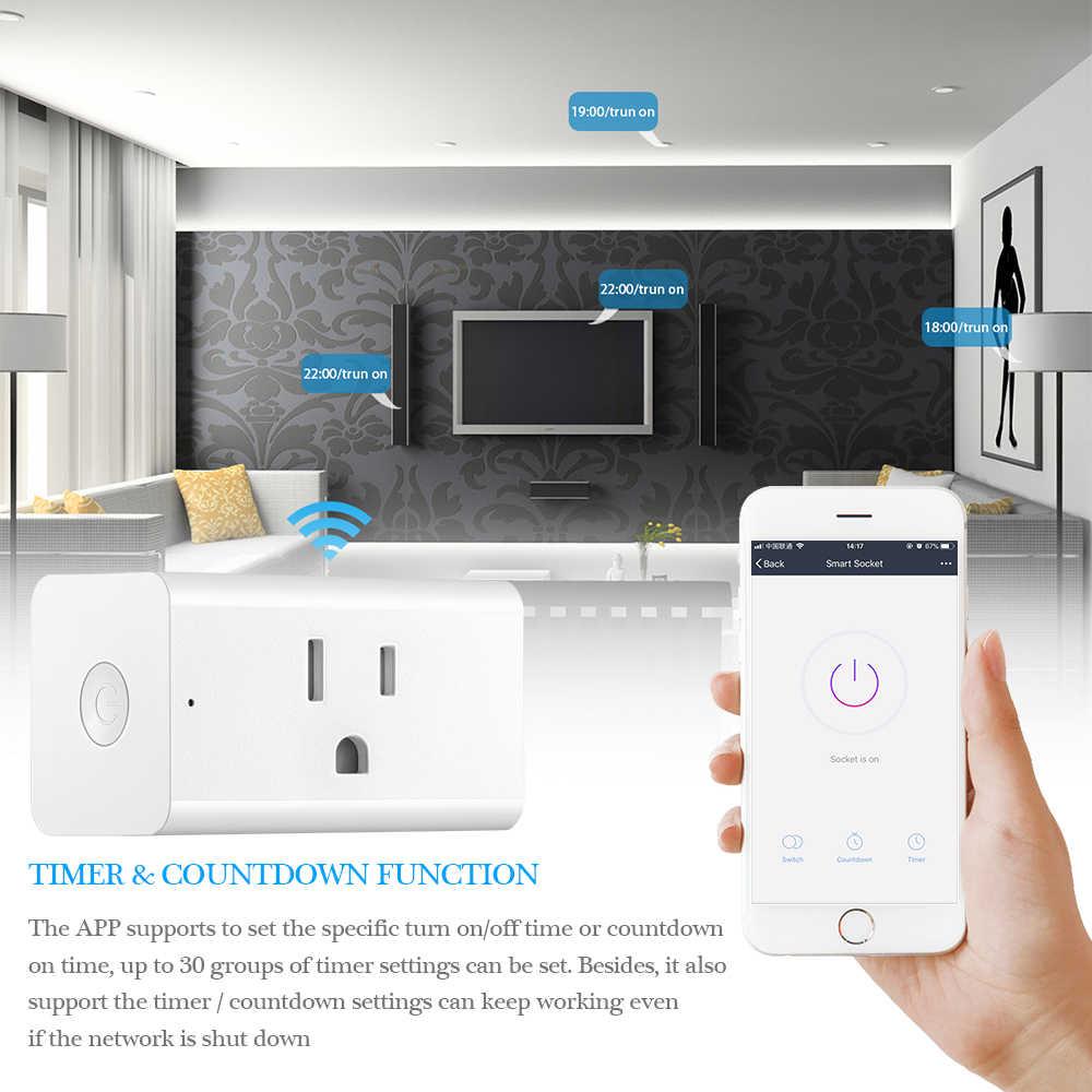 Inteligentne gniazdo zdalnego sterowania Wifi przełącznik zasilania 15A 1800 W wysokiej mocy współpracuje z Alexa Google domu dla iphone Ipad z systemem Android